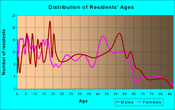 Age and Sex of Residents in zip code 73950