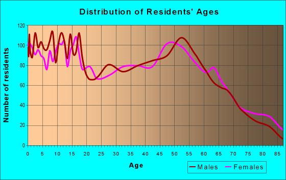 Age and Sex of Residents in zip code 77474