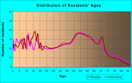 Age and Sex of Residents in zip code 77485