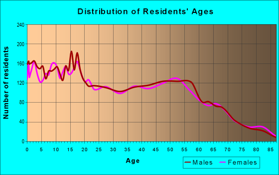 Age and Sex of Residents in zip code 77541