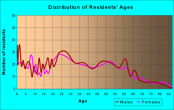 Age and Sex of Residents in zip code 77702