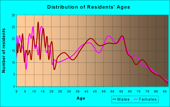 Age and Sex of Residents in zip code 77861