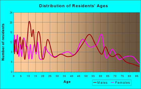 Age and Sex of Residents in zip code 81047