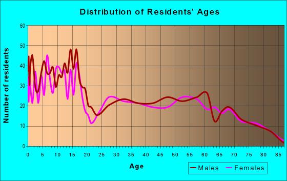 Age and Sex of Residents in zip code 84713