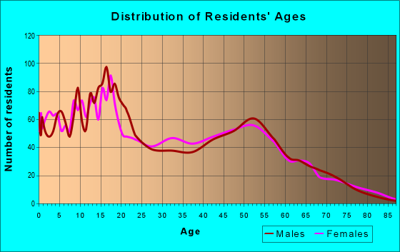Age and Sex of Residents in zip code 93591