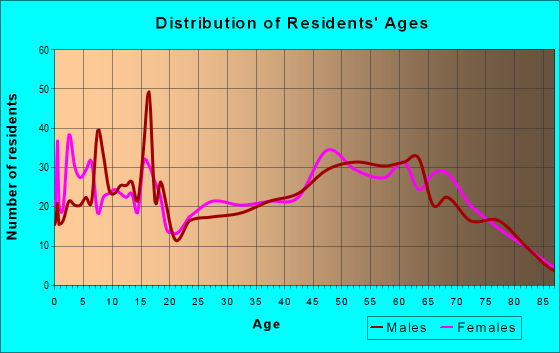 Age and Sex of Residents in zip code 96055