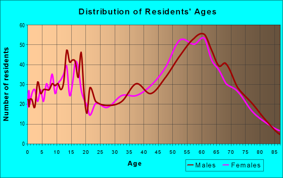 Age and Sex of Residents in zip code 99141
