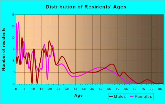 Age and Sex of Residents in zip code 99766