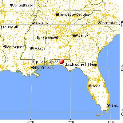 De Funiak Springs, FL (32433) map from a distance