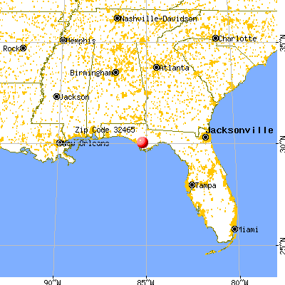 Wewahitchka, FL (32465) map from a distance