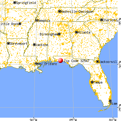 Wright, FL (32547) map from a distance
