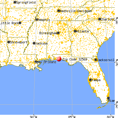 Mary Esther, FL (32569) map from a distance
