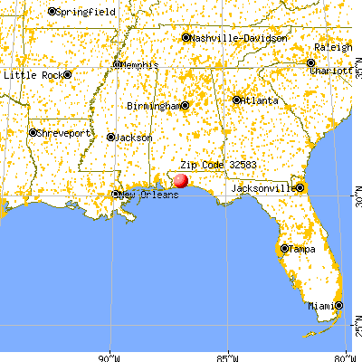 Bagdad, FL (32583) map from a distance