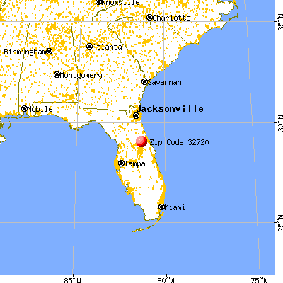 De Land, FL (32720) map from a distance