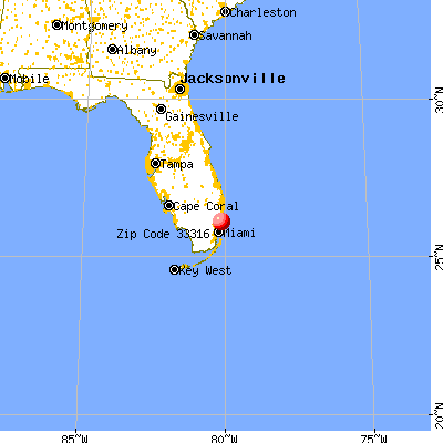 Fort Lauderdale, FL (33316) map from a distance
