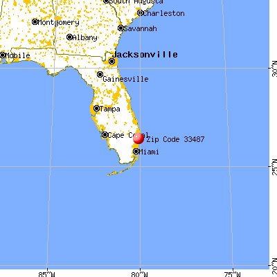 Boca Raton, FL (33487) map from a distance