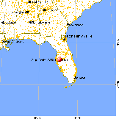 Brandon, FL (33511) map from a distance