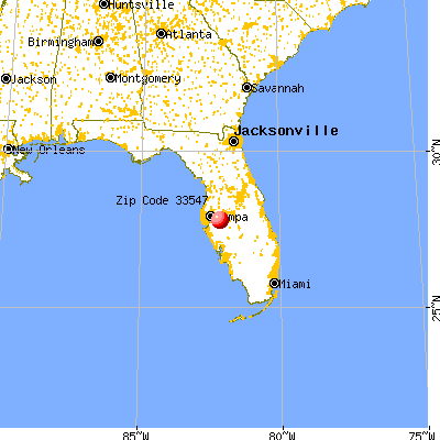 Fish Hawk, FL (33547) map from a distance