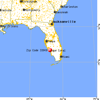 Cape Coral, FL (33909) map from a distance