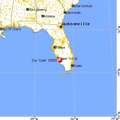 Estero, FL (33928) map from a distance