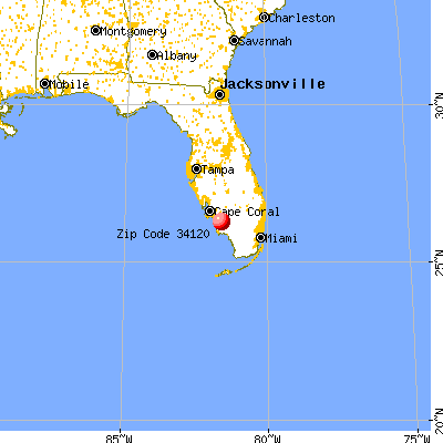 Orangetree, FL (34120) map from a distance