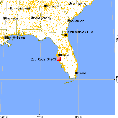 West Samoset, FL (34203) map from a distance