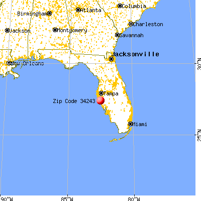 Whitfield, FL (34243) map from a distance