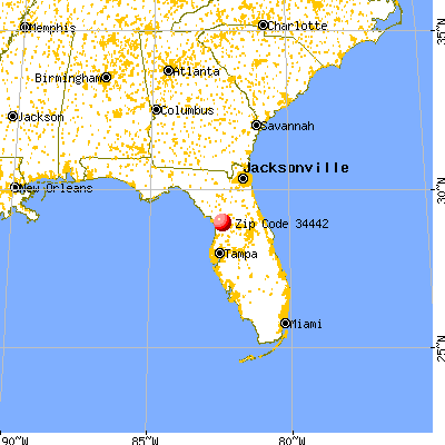 Hernando, FL (34442) map from a distance