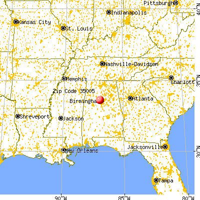 Adamsville, AL (35005) map from a distance