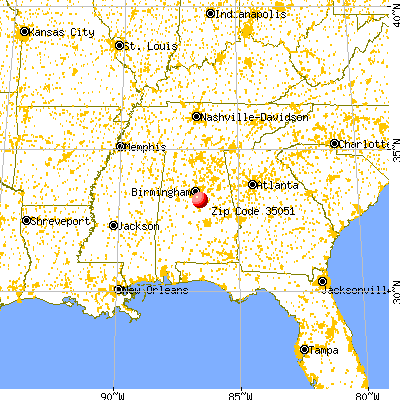 Columbiana, AL (35051) map from a distance