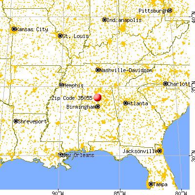 Cullman, AL (35055) map from a distance