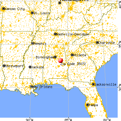 Hollins, AL (35072) map from a distance