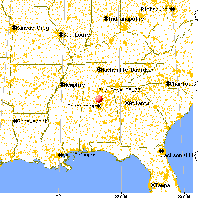 Hanceville, AL (35077) map from a distance