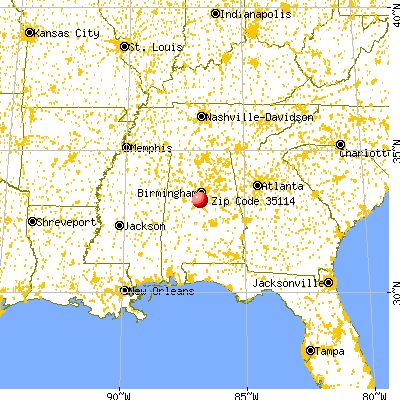 Alabaster, AL (35114) map from a distance