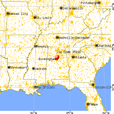 Morris, AL (35116) map from a distance