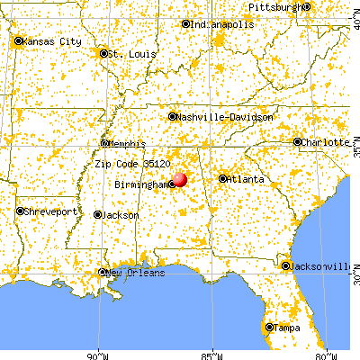 Odenville, AL (35120) map from a distance