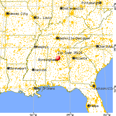 Pinson, AL (35126) map from a distance