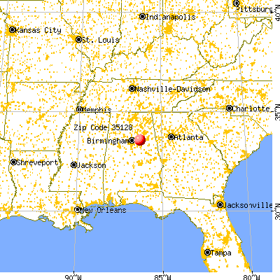 Pell City, AL (35128) map from a distance