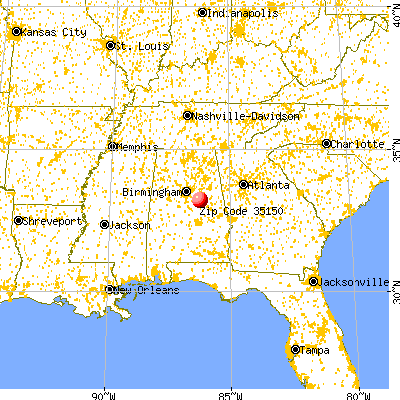 Sylacauga, AL (35150) map from a distance