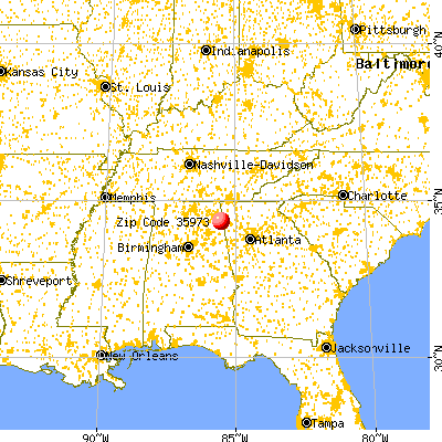 Gaylesville, AL (35973) map from a distance