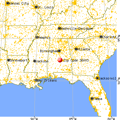 Autaugaville, AL (36003) map from a distance