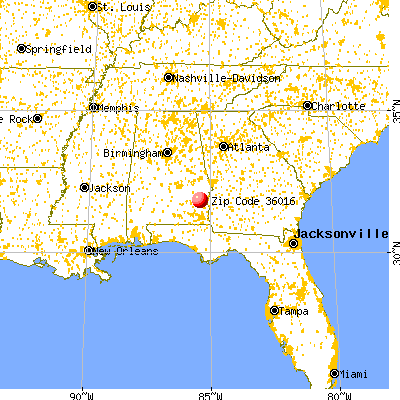 Clayton, AL (36016) map from a distance
