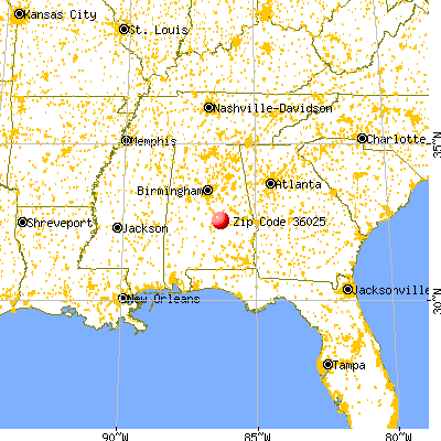 Elmore, AL (36025) map from a distance