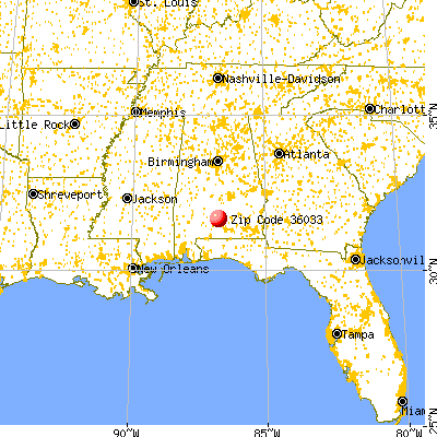 Georgiana, AL (36033) map from a distance