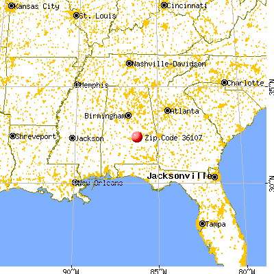 Montgomery, AL (36107) map from a distance