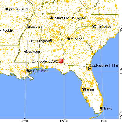 Dothan, AL (36301) map from a distance