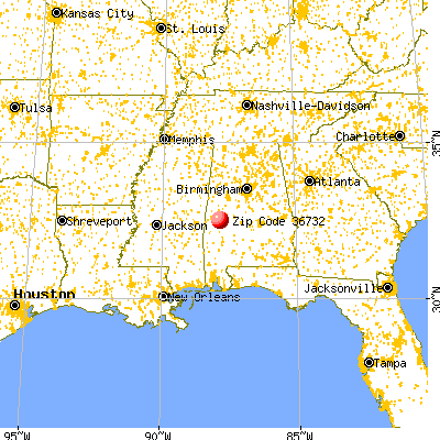 Demopolis, AL (36732) map from a distance