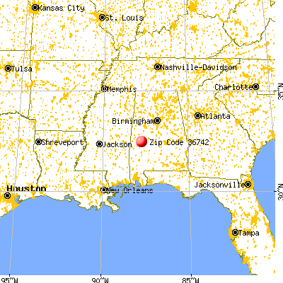Demopolis, AL (36742) map from a distance