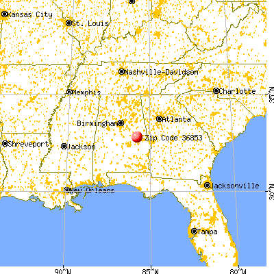 Dadeville, AL (36853) map from a distance