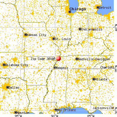 Ridgely, TN (38080) map from a distance